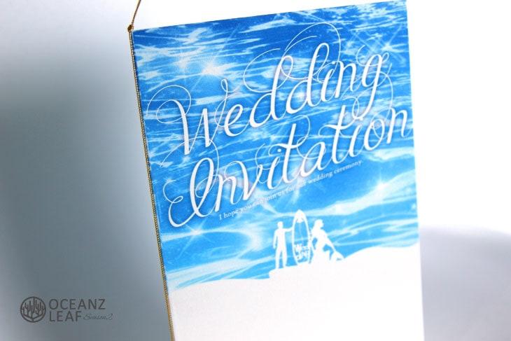 結婚式招待状 リゾートペーパーアイテム【ニーナ(ロング型)ブルー】Oceanz leafシリーズ画像2
