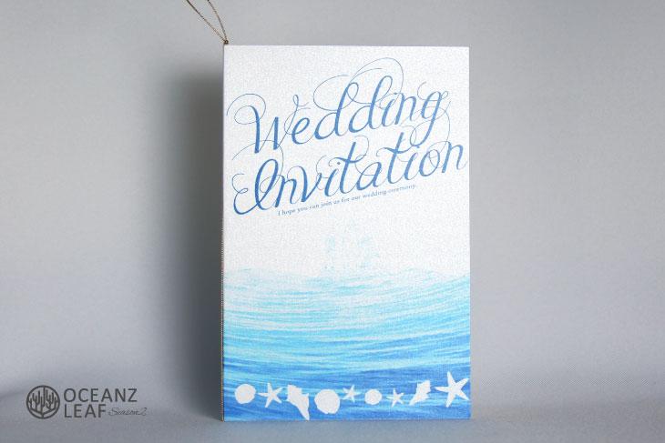 結婚式招待状 リゾートペーパーアイテム【ニーナ(ロング型)ホワイト】Oceanz leafシリーズ画像1
