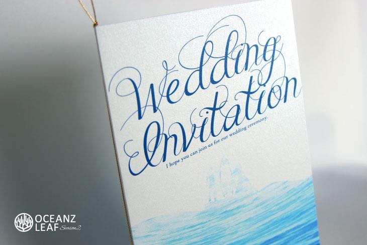 結婚式招待状 リゾートペーパーアイテム【ニーナ(ロング型)ホワイト】Oceanz leafシリーズ画像2
