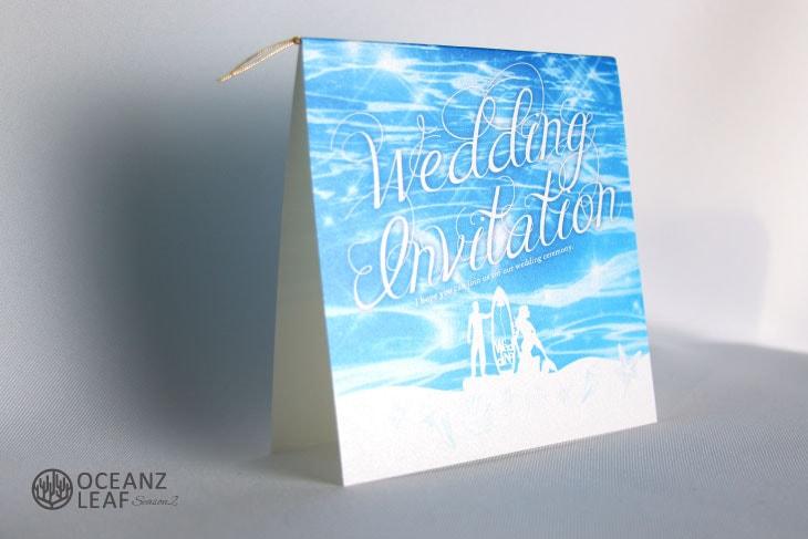 ニーナ(スクエア)ブルー 結婚式招待状 沖縄南国ペーパーアイテム リゾートウエディングにぴったり!画像2