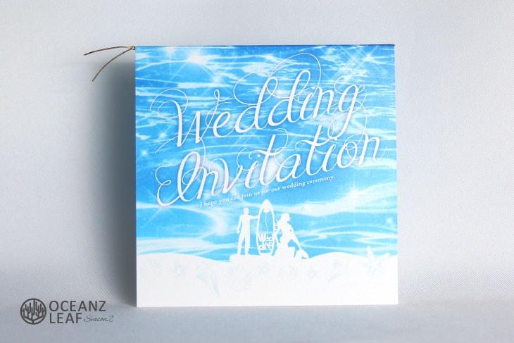 ニーナ(スクエア)ブルー 結婚式招待状 沖縄南国ペーパーアイテム リゾートウエディング画像1