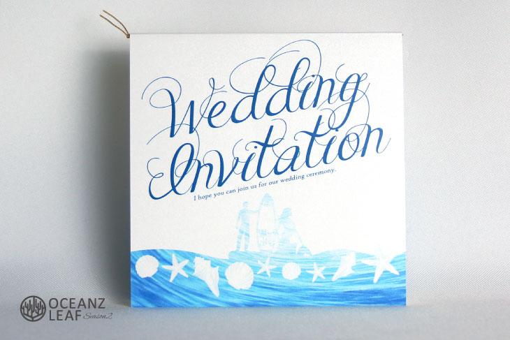ニーナ(スクエア)ホワイト 結婚式招待状 沖縄南国ペーパーアイテム リゾートウエディング画像1