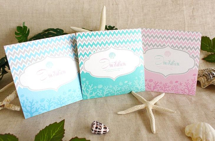 アウターリーフ(スクエア) 結婚式招待状 沖縄南国ペーパーアイテム リゾートウエディング画像1