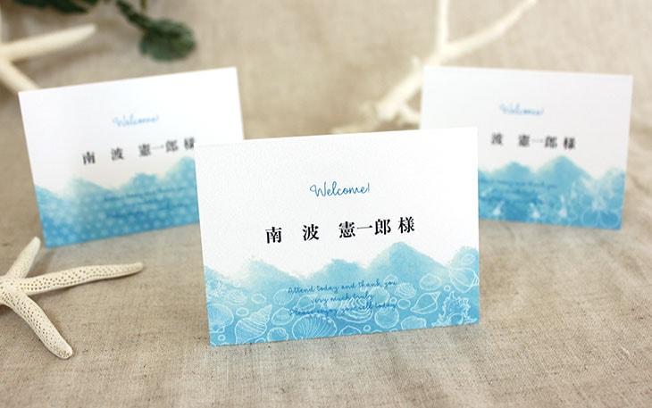 結婚式席札 リゾートペーパーアイテム【シーブリーズ】Oceanz leafシリーズ画像1