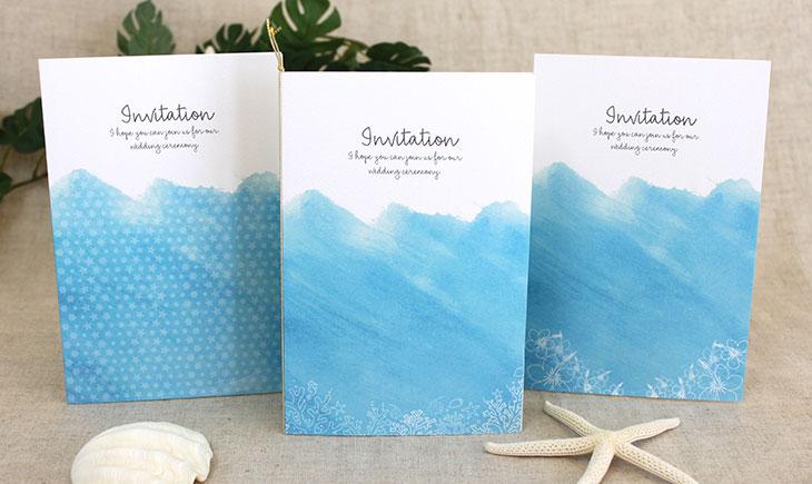 結婚式招待状 リゾートペーパーアイテム【シーブリーズ(ロング型)】Oceanz leafシリーズ画像1