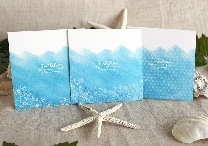 シーブリーズ(スクエア) 結婚式招待状 沖縄南国ペーパーアイテム リゾートウエディング画像1