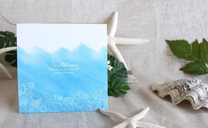 シーブリーズ(スクエア) 結婚式招待状 沖縄南国ペーパーアイテム リゾートウエディングにぴったり!画像4