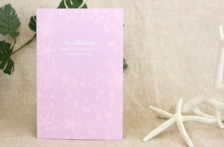結婚式招待状 リゾートペーパーアイテム【シェルフェイド(ロング型)】Oceanz leafシリーズ画像2