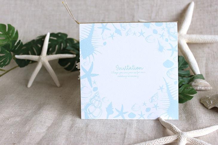 シェルフェイド(スクエア) 結婚式招待状 沖縄南国ペーパーアイテム リゾートウエディングにぴったり!画像2