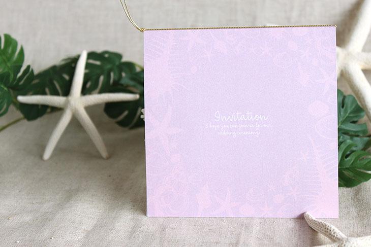 シェルフェイド(スクエア) 結婚式招待状 沖縄南国ペーパーアイテム リゾートウエディングにぴったり!画像3