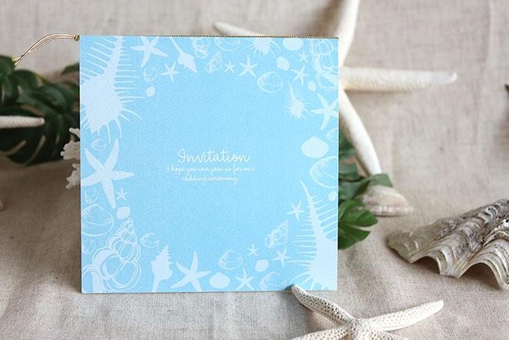 シェルフェイド(スクエア) 結婚式招待状 沖縄南国ペーパーアイテム リゾートウエディングにぴったり!画像4
