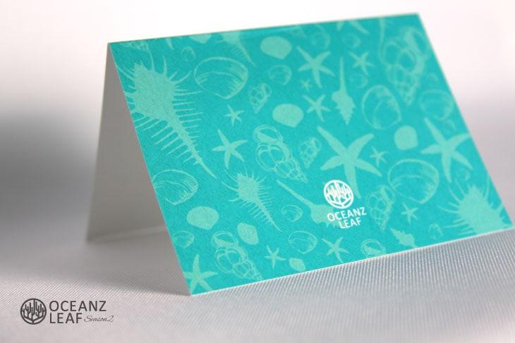 結婚式席次表リゾートペーパーアイテム【シェルフェイド2】エメラルドグリーン Oceanz leafシリーズ画像3