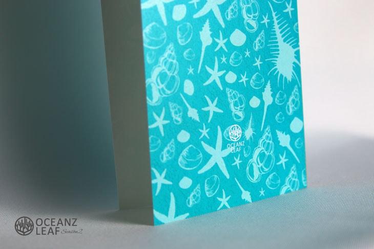 結婚式席次表リゾートペーパーアイテム【シェルフェイド2】グリーン Oceanz leafシリーズ画像3