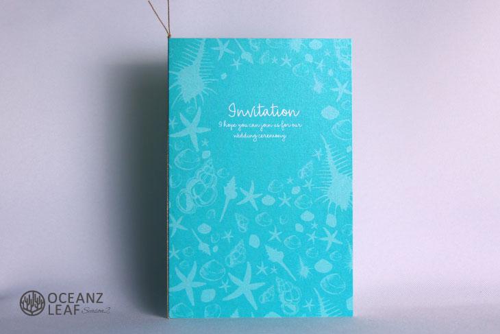 結婚式招待状 リゾートペーパーアイテム【シェルフェイド2(ロング型)エメラルドグリーン】Oceanz leafシリーズ画像1
