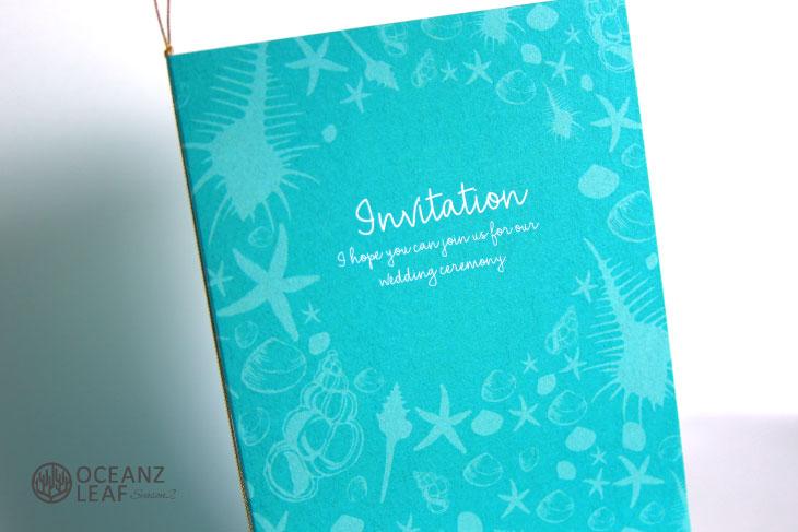 結婚式招待状 リゾートペーパーアイテム【シェルフェイド2(ロング型)エメラルドグリーン】Oceanz leafシリーズ画像2