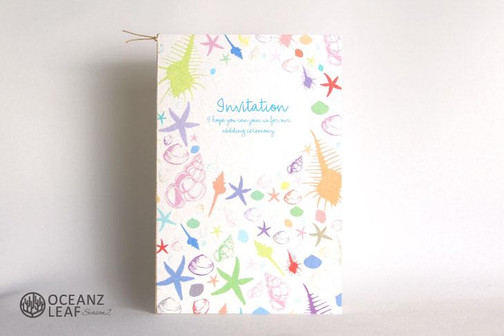結婚式招待状 リゾートペーパーアイテム【シェルフェイド2(ロング型)ホワイト】Oceanz leafシリーズ画像1