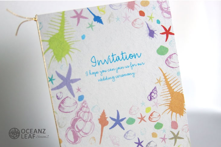 結婚式招待状 リゾートペーパーアイテム【シェルフェイド2(ロング型)ホワイト】Oceanz leafシリーズ画像2