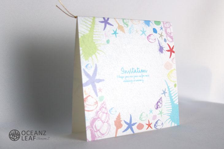 シェルフェイド2ホワイト(スクエア) 結婚式招待状 沖縄南国ペーパーアイテム リゾートウエディングにぴったり!画像2