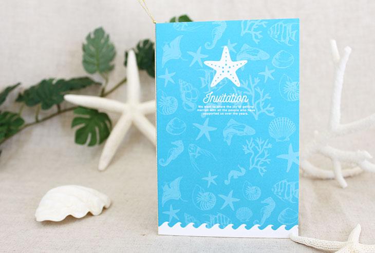 結婚式招待状 リゾートペーパーアイテム【スターフィッシュ(ロング型)】Oceanz leafシリーズ画像2