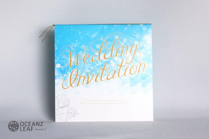 タッデオ(スクエア)ブルー 結婚式招待状 沖縄南国ペーパーアイテム リゾートウエディング画像1
