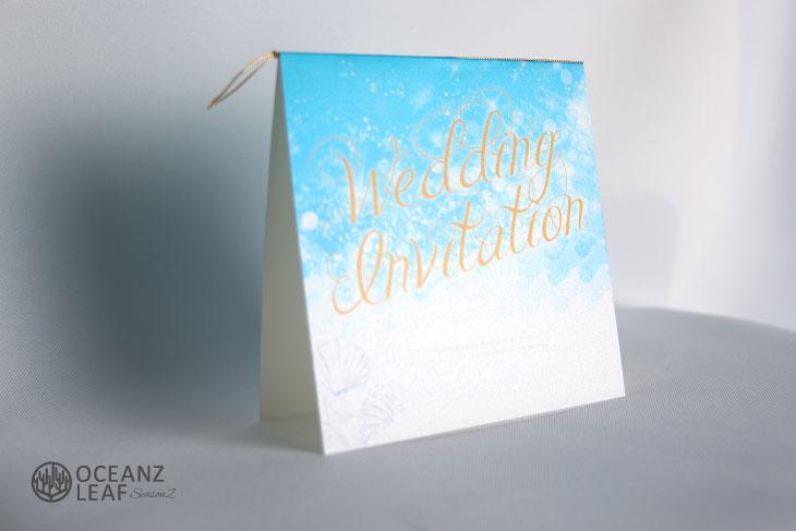 ライトブルー(スクエア)ブルー 結婚式招待状 沖縄南国ペーパーアイテム リゾートウエディングにぴったり!画像2