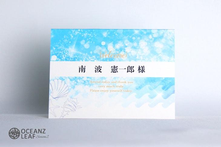 結婚式席札 リゾートペーパーアイテム【タッデオ】ブルー Oceanz leafシリーズ画像1