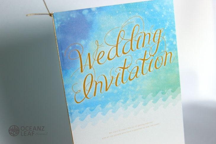 結婚式招待状 リゾートペーパーアイテム【タッデオ(ロング型)ライトブルー】Oceanz leafシリーズ画像2