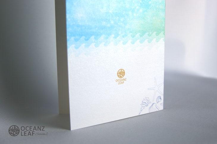 結婚式招待状 リゾートペーパーアイテム【タッデオ(ロング型)ライトブルー】Oceanz leafシリーズ画像3