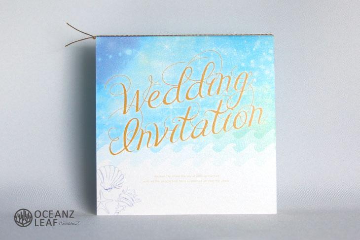 タッデオ(スクエア)ライトブルー 結婚式招待状 沖縄南国ペーパーアイテム リゾートウエディング画像1