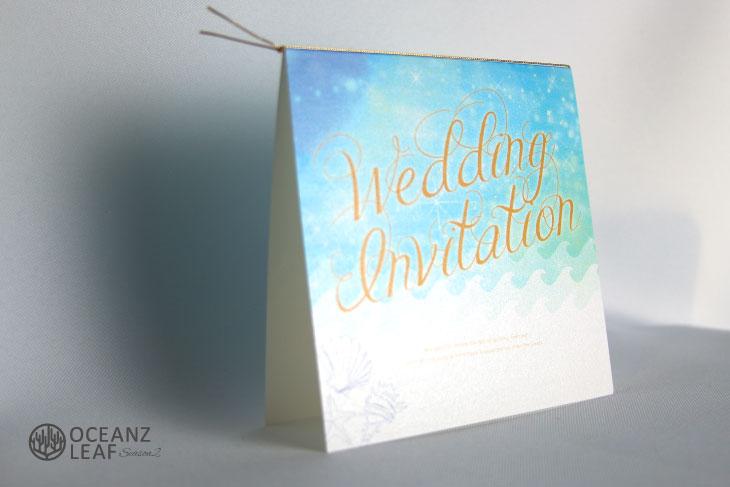ライトブルー(スクエア)ライトブルー 結婚式招待状 沖縄南国ペーパーアイテム リゾートウエディングにぴったり!画像2
