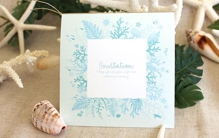 タイド(スクエア) 結婚式招待状 沖縄南国ペーパーアイテム リゾートウエディングにぴったり!画像3