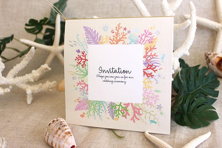 タイド(スクエア) 結婚式招待状 沖縄南国ペーパーアイテム リゾートウエディングにぴったり!画像4