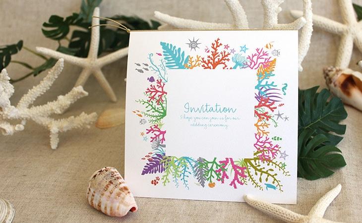 タイド(スクエア) 結婚式招待状 沖縄南国ペーパーアイテム リゾートウエディングにぴったり!画像2