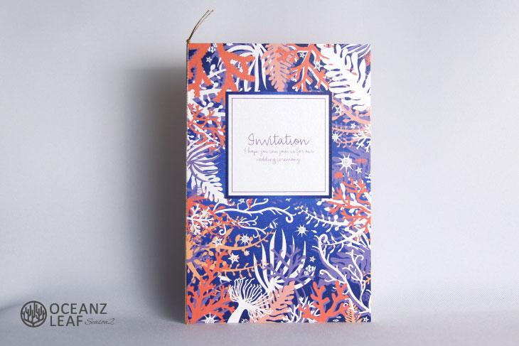 結婚式招待状 リゾートペーパーアイテム【タイド2(ロング型)パープル】Oceanz leafシリーズ画像1
