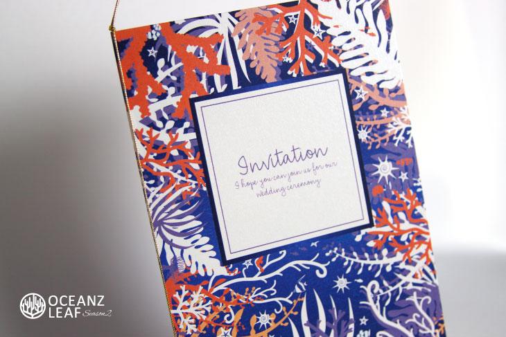 結婚式招待状 リゾートペーパーアイテム【タイド2(ロング型)パープル】Oceanz leafシリーズ画像2