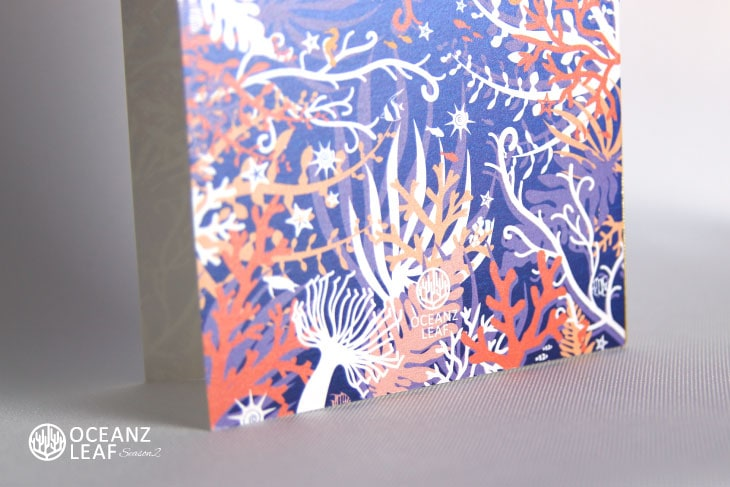 結婚式招待状 リゾートペーパーアイテム【タイド2(ロング型)パープル】Oceanz leafシリーズ画像3