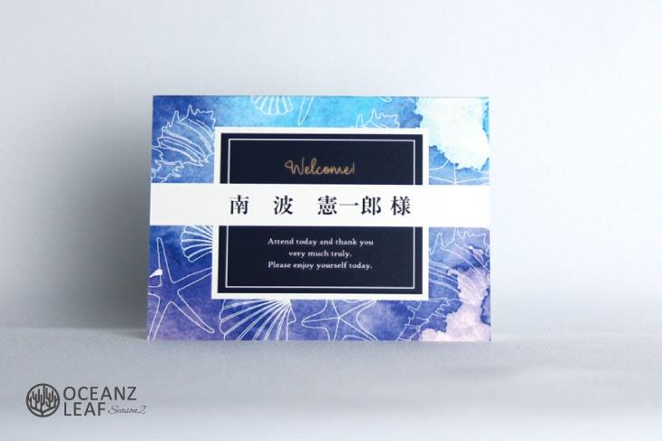 結婚式席札 リゾートペーパーアイテム【ヴィルジニア】ブルー Oceanz leafシリーズ画像1