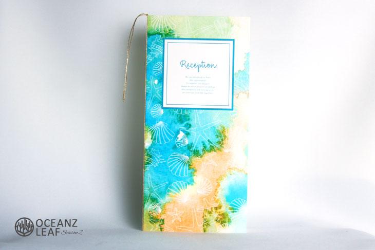 結婚式席次表 リゾートペーパーアイテム【ヴィルジニア】グリーン Oceanz leafシリーズ画像1