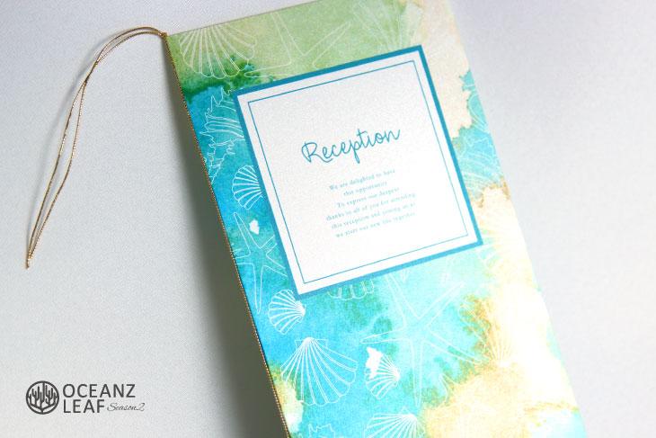 結婚式席次表 リゾートペーパーアイテム【ヴィルジニア】グリーン Oceanz leafシリーズ画像2
