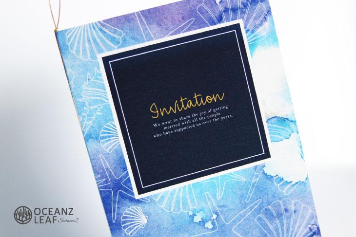 結婚式招待状 リゾートペーパーアイテム【ヴィルジニア(ロング型)ブルー】Oceanz leafシリーズ画像2