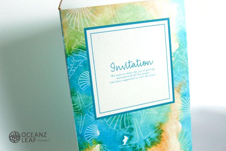 結婚式招待状 リゾートペーパーアイテム【ヴィルジニア(ロング型)グリーン】Oceanz leafシリーズ画像2