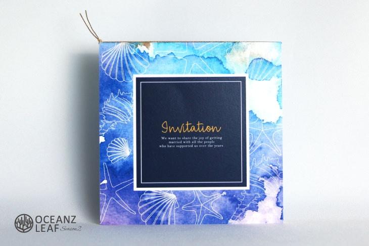 ヴィルジニア(スクエア)ブルー 結婚式招待状 沖縄南国ペーパーアイテム リゾートウエディング画像1