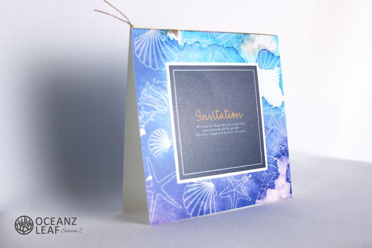 ヴィルジニア(スクエア)ブルー 結婚式招待状 沖縄南国ペーパーアイテム リゾートウエディングにぴったり!画像2