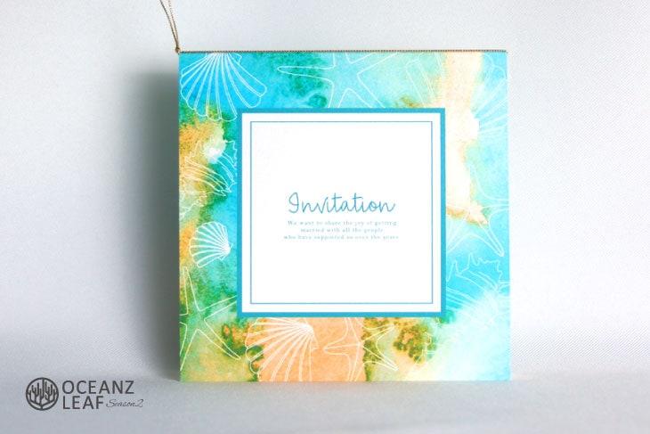 ヴィルジニア(スクエア)グリーン 結婚式招待状 沖縄南国ペーパーアイテム リゾートウエディング画像1