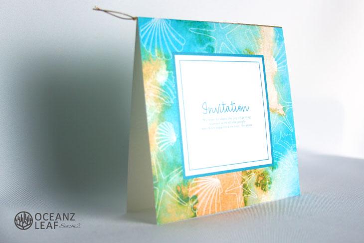ヴィルジニア(スクエア)グリーン 結婚式招待状 沖縄南国ペーパーアイテム リゾートウエディングにぴったり!画像2