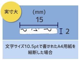 細断サイズ2×15mm実寸大