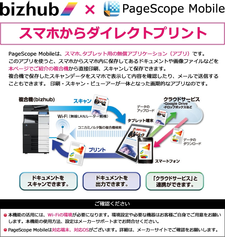 コニカミノルタコピー機とPageScope Mobileでスマホからダイレクトプリント