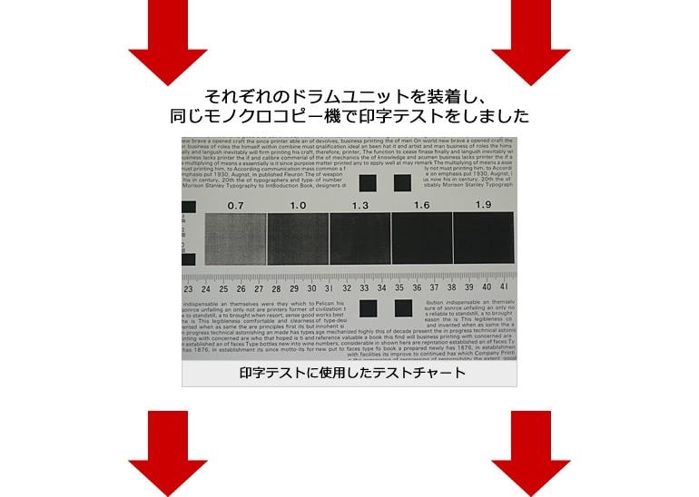 それぞれのドラムユニットを装着し、同じモノクロコピー機で印字テストをしました