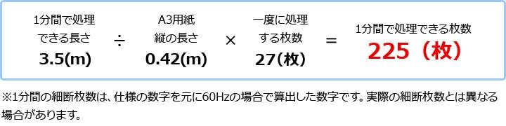 S300 1分間で細断できる枚数を計算した結果、225枚
