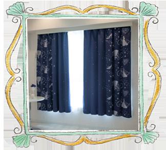 シンデレラ 1級遮光・遮熱ラメプリントカーテン